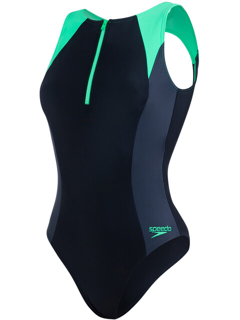 speedo W's Hydrasuit Swimsuit Black/Oxid Grey/Fake Green